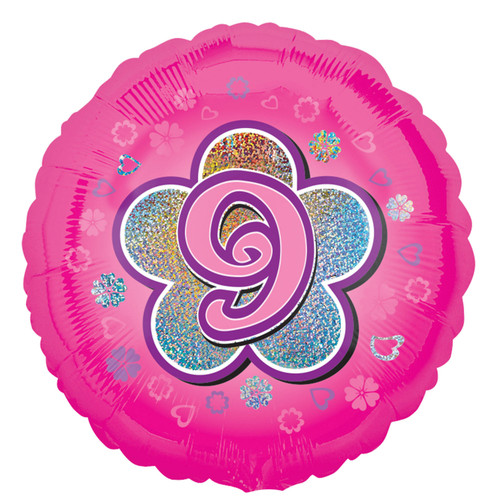 H100 18in Foil Balloon Pink Age 9 Flower