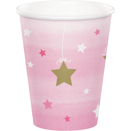 One Little Star Pink Cups Pk8 266ml