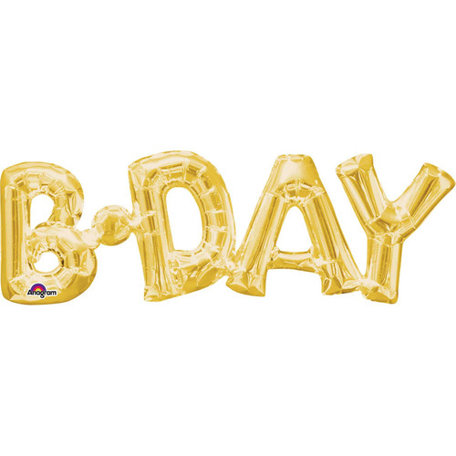 Air Fill Balloon Gold BDay 9x26in
