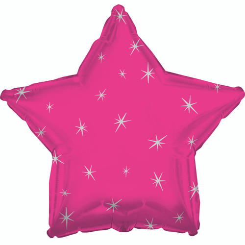 H100 18in Foil Balloon Hot Pink Sparkle Heart