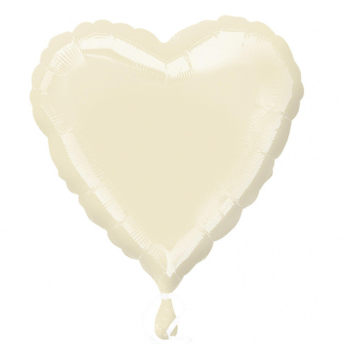 H100 18in Heart Foil Balloon Irredescent Pearl Ivory