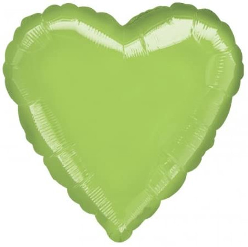 H100 18in Heart Foil Balloon Lime Green
