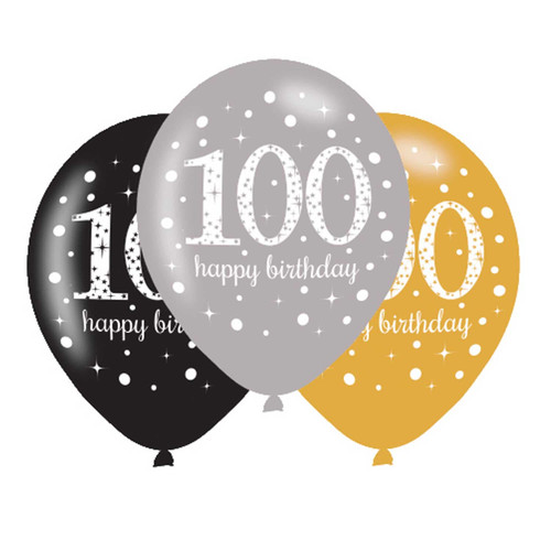 11in Latex Balloons Age 100 Gold Celebration Pk6