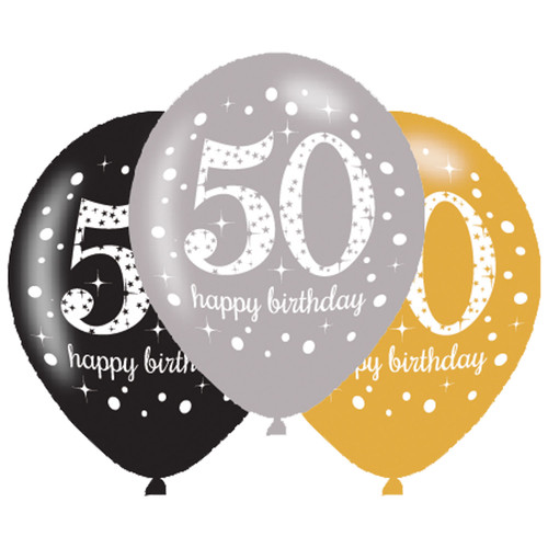 11in Latex Balloons Age 50 Gold Celebration Pk6