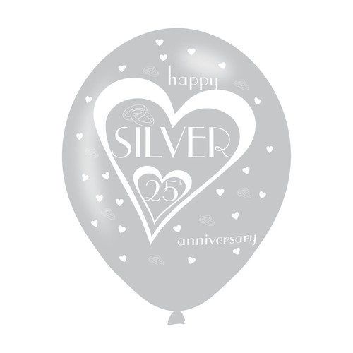 11in Latex Balloons 25th Silver Anniversary Pk6