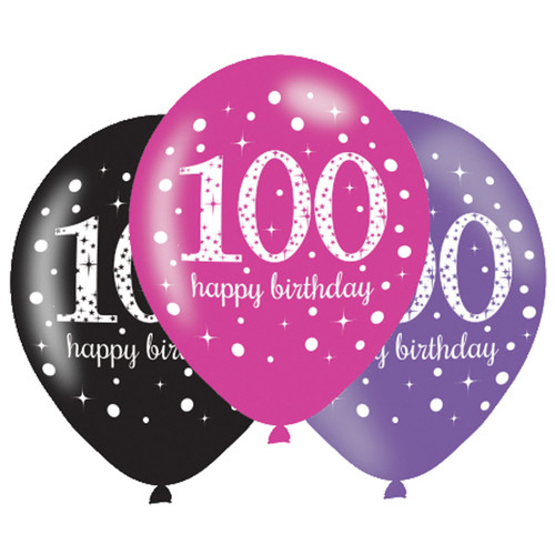 11in Latex Balloons Age 100 Pink Celebration Pk6