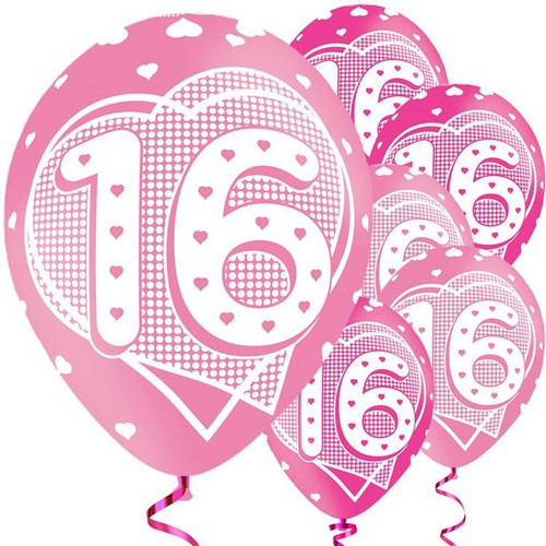 11in Latex Balloons Age 16 Pink Pk6