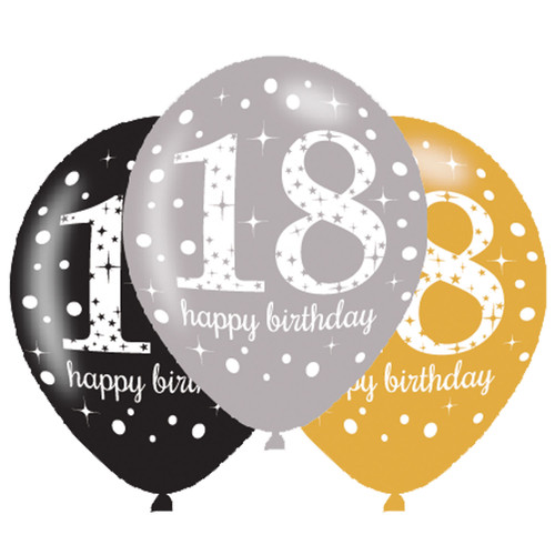 11in Latex Balloons Age 18 Gold Celebration Pk6