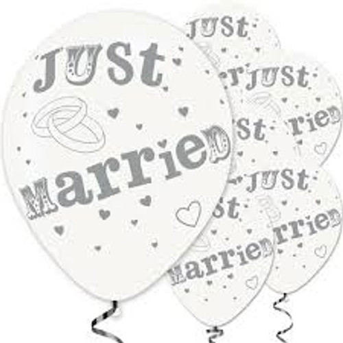 11in Latex Balloons Just Married Pk6