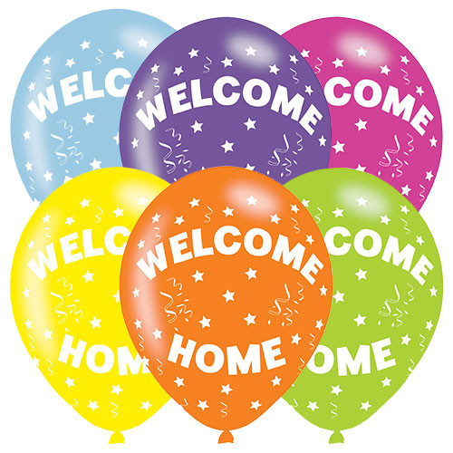 11in Latex Balloons Welcome Home Pk6