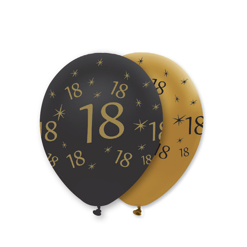 12in Latex Balloons Black Gold Age 18 Pk6