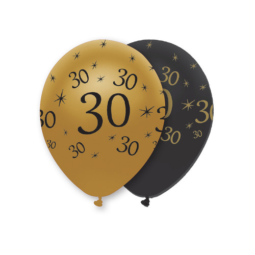 12in Latex Balloons Black Gold Age 30 Pk6