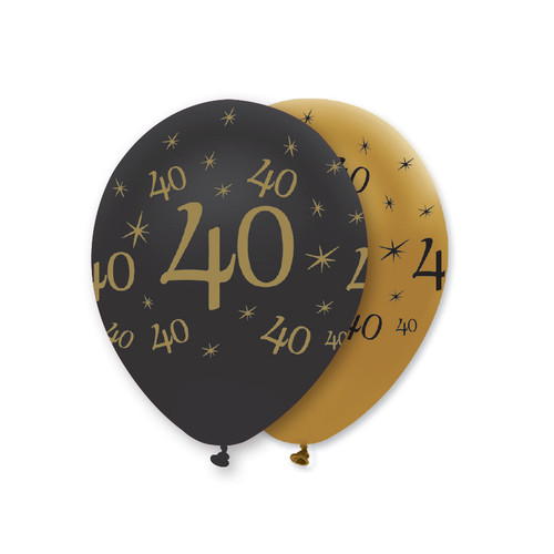 12in Latex Balloons Black Gold Age 40 Pk6