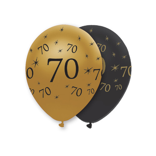12in Latex Balloons Black Gold Age 70 Pk6