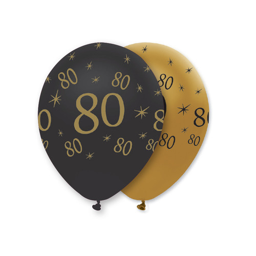 12in Latex Balloons Black Gold Age 80 Pk6