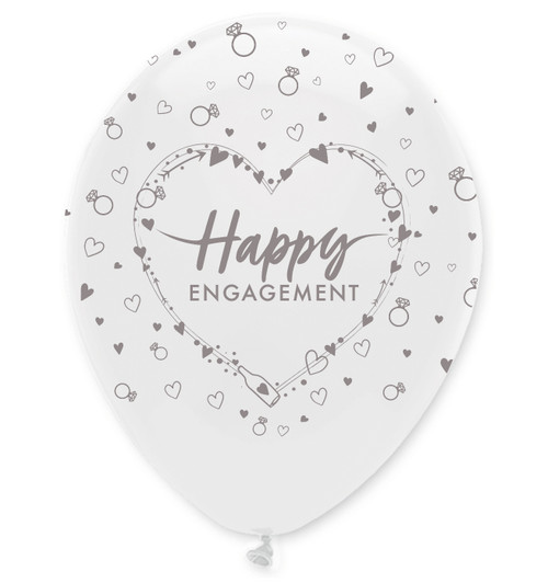12in Latex Balloons Happy Engagement Pk6