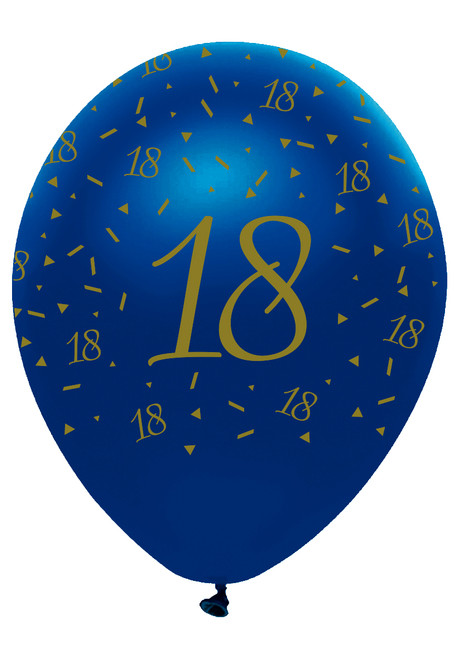 12in Latex Balloons Navy Geode Age 18 Pk6