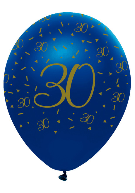 12in Latex Balloons Navy Geode Age 30 Pk6