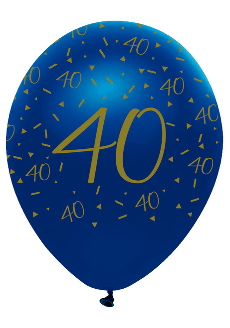 12in Latex Balloons Navy Geode Age 40 Pk6