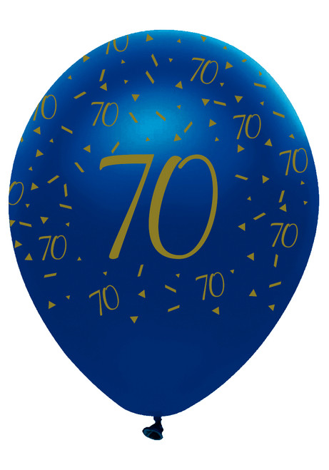 12in Latex Balloons Navy Geode Age 70 Pk6