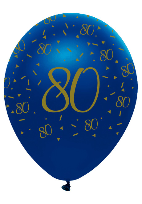 12in Latex Balloons Navy Geode Age 80 Pk6