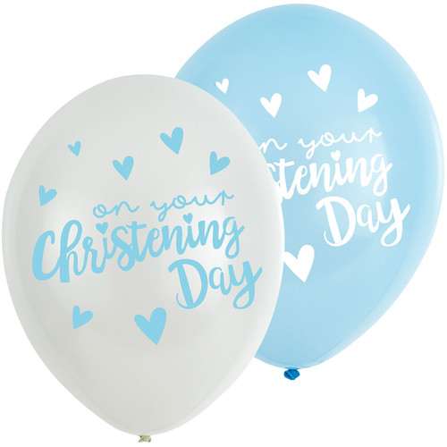 11in Latex Balloons On Your Christening Day Blue Pk6