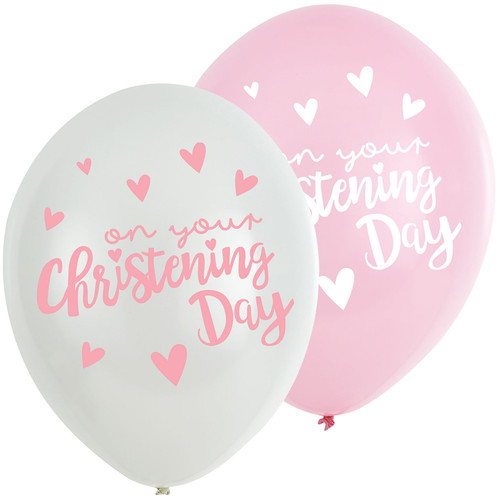 11in Latex Balloons On Your Christening Day Pink Pk6
