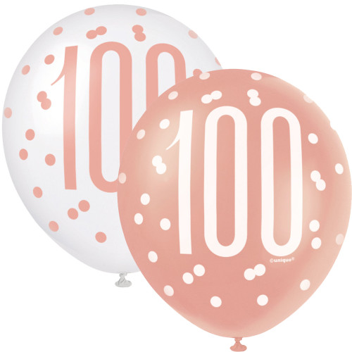 12in Latex Balloons Age 100 Rose Gold Pk6
