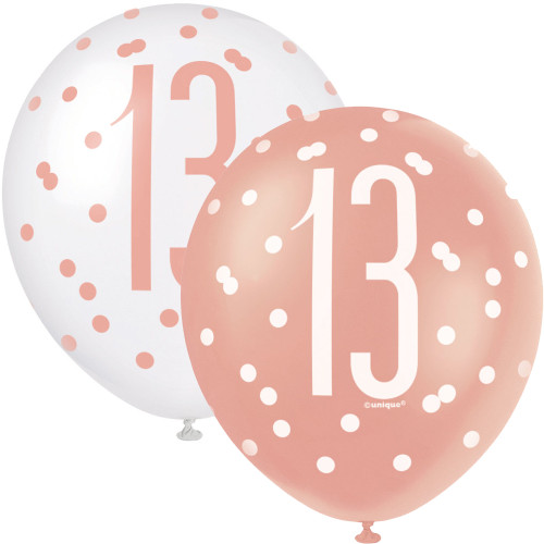 12in Latex Balloons Age 13 Rose Gold Pk6