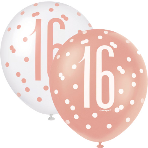 12in Latex Balloons Age 16 Rose Gold Pk6