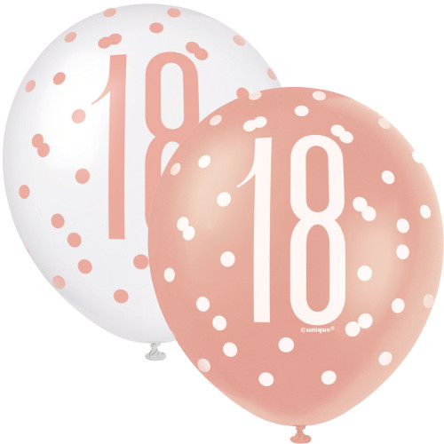 12in Latex Balloons Age 18 Rose Gold Pk6