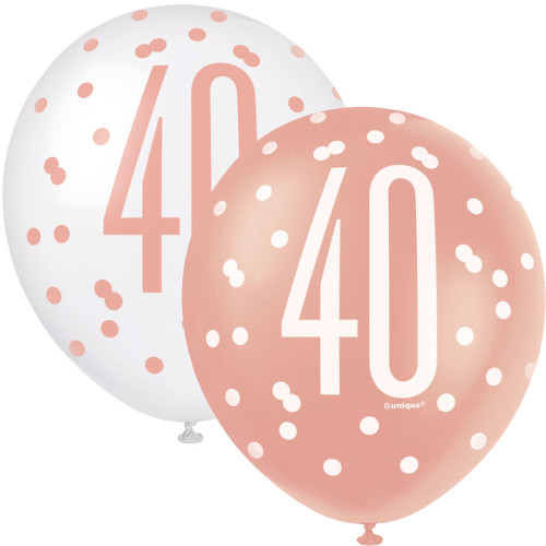 12in Latex Balloons Age 40 Rose Gold Pk6