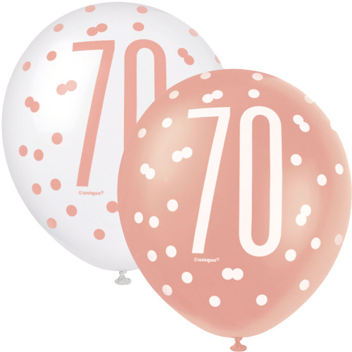12in Latex Balloons Age 70 Rose Gold Pk6