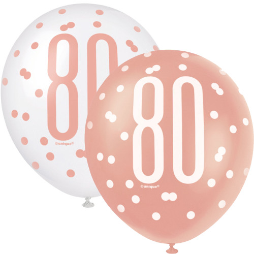 12in Latex Balloons Age 80 Rose Gold Pk6