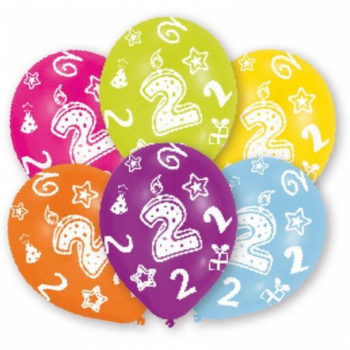 11in Latex Balloons Age 2 Pk6