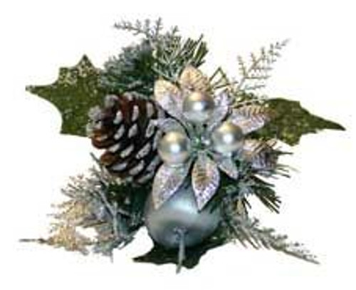 Christmas Pick Silver Pons Berry  Apple Cone