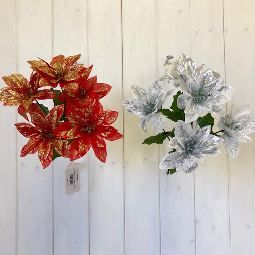 Poinsettia Bush With Glitter Red with Silver