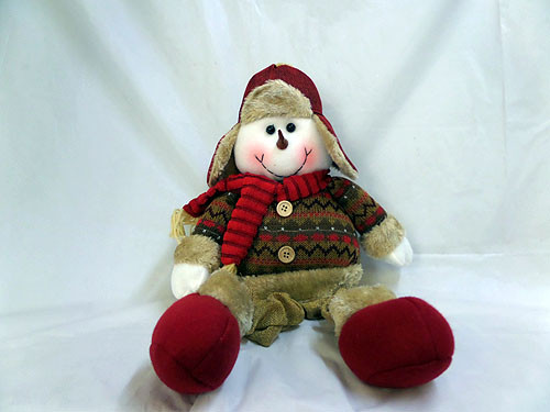 Plush Snowman Brown Dangly Legs Lenght 20in