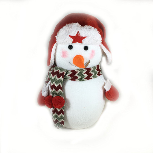 Plush Snowman with Scarf and Hat Red Large 12inch