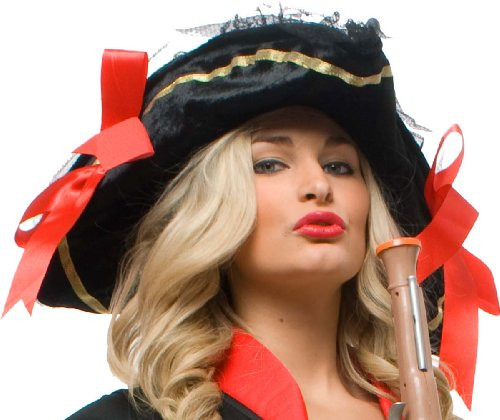 Black Velveteen Pirate Hat With Red Bow Hat