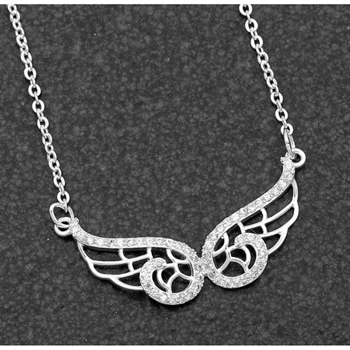 Angel Wings Necklace Silver Plate