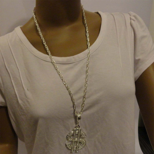 Bling Necklace Dollar Silver