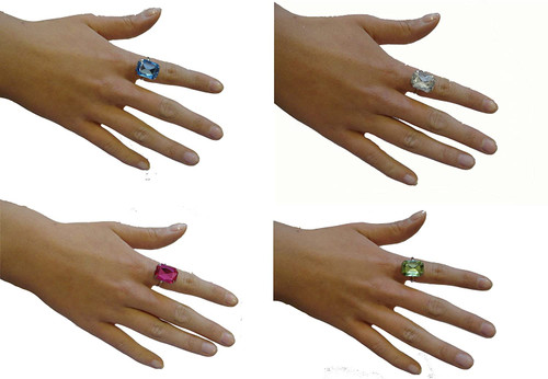 Bling Ring Rectangle Jewel Assorted Colours