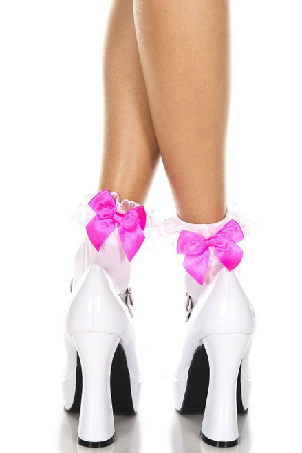 Ankle Socks With Pink Bows