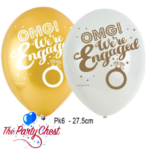 11in Latex Balloons Happy Engagement Pk6