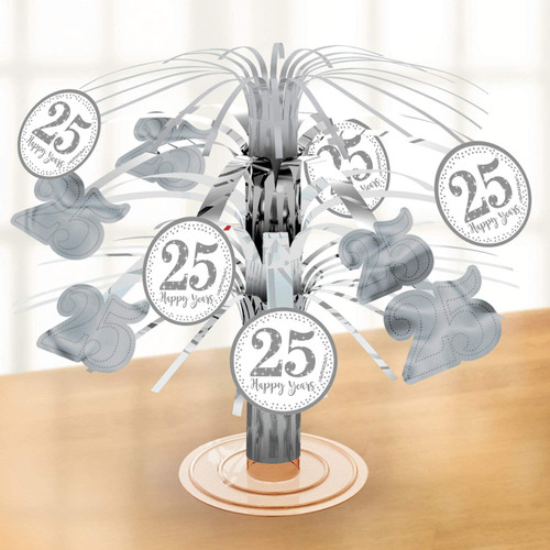 25th Silver Anniversary Foil Centrepiece 25 Happy Years
