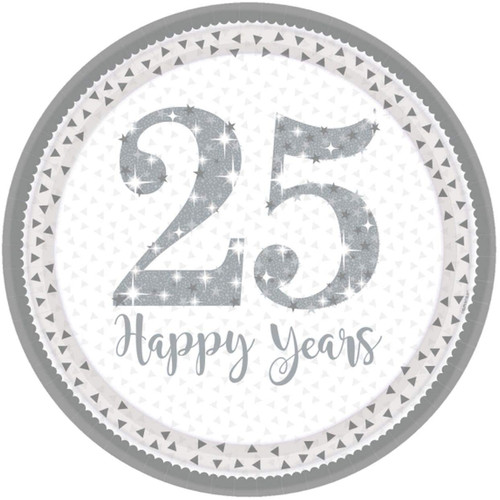 25th Silver Anniversary Plates Pk8 25 Happy Years