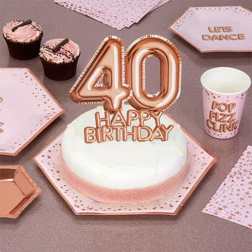 Glitz and Glamour Rose Gold Cake Topper Age 40