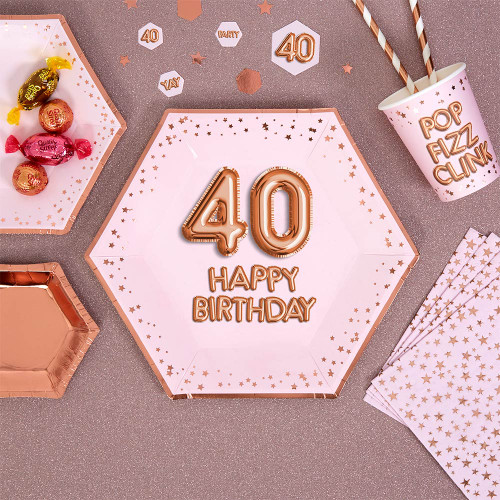 Glitz and Glamour Pink and Rose Gold Plates Age 40 pk8
