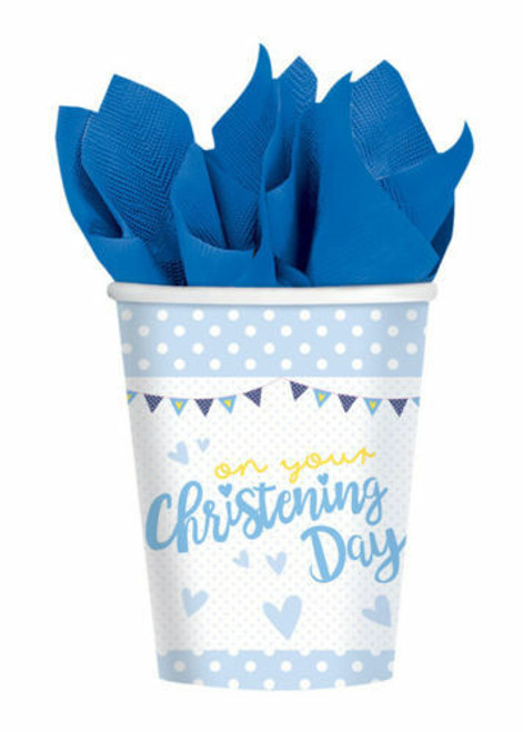 Blue On Your Christening Day Cups Pk8 266ml